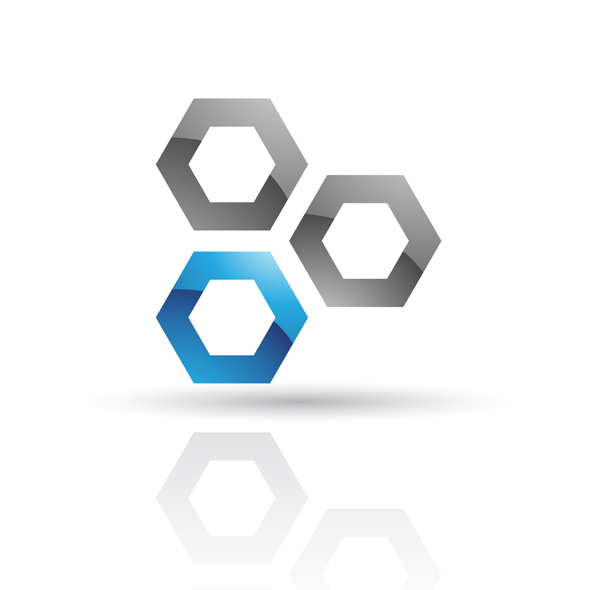 glossy blue and black abstract honeycomb logo icon isolated on a white background