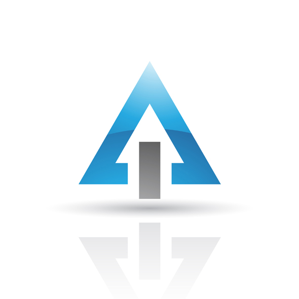 blue black abstract triangle logo icon isolated on a white background