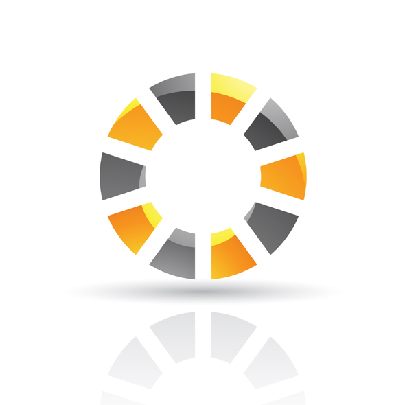 Glossy orange abstract wheel logo icon isolated on a white background