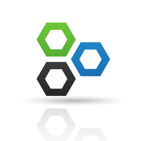 Blue and green abstract honeycomb logo icon isolated on a white background