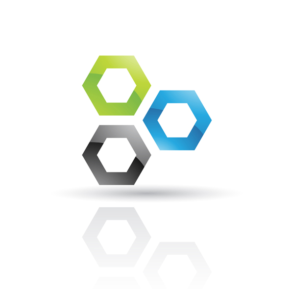 glossy blue and green abstract honeycomb logo icon isolated on a white background