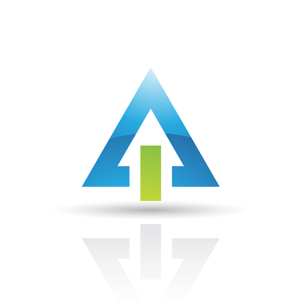 blue green abstract triangle logo icon isolated on a white background