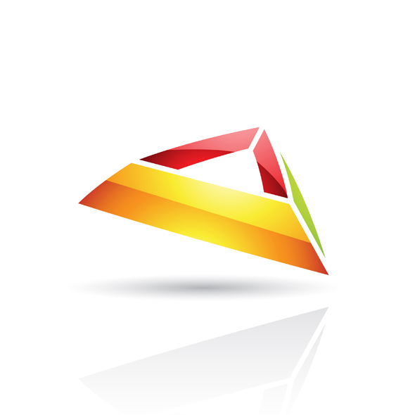 glossy colorful abstract pyramid like logo icon isolated on a white background
