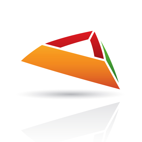 colorful abstract pyramid like logo icon isolated on a white background