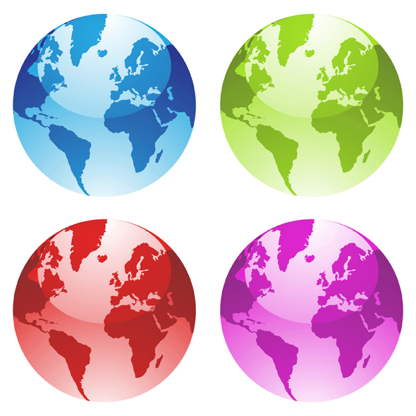 4 globes in blue, red, green and purple colors