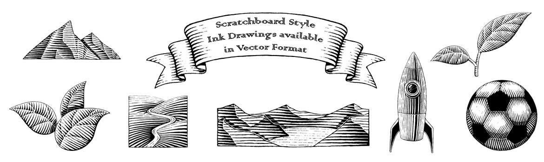 Scratchboard Ink Drawings