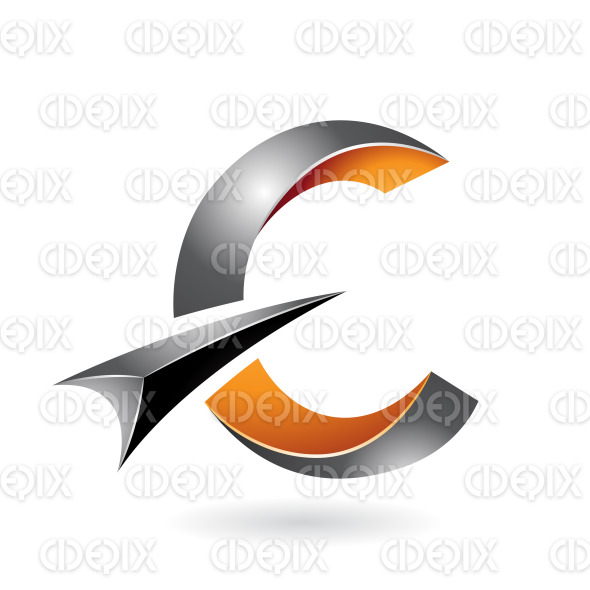 Yellow and Black Twisty Symbol of Letter C with a Black Arrow stock illustration
