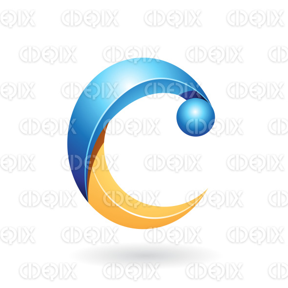 Shiny, Yellow and Blue Abstract Fun Symbol of Letter C stock illustration
