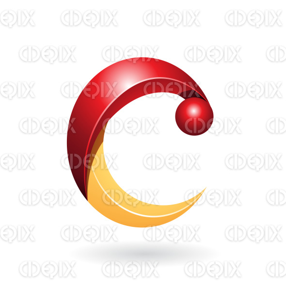 Shiny Red and Yellow Abstract Fun Symbol of Letter C stock illustration