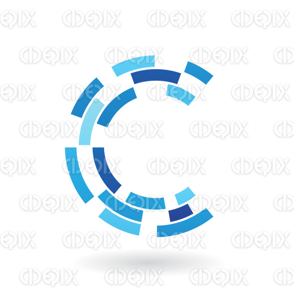 Blue Round Symbol of Letter C formed by Rectangular Shapes stock illustration