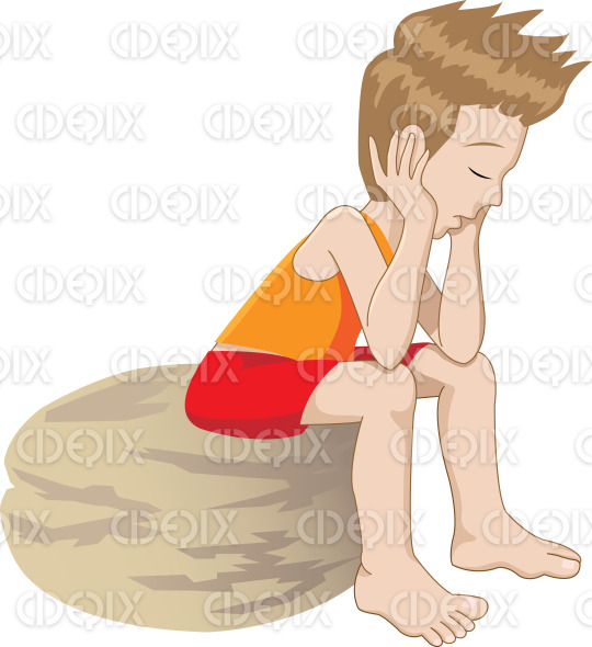 thinking, sad and bored kid stock illustration