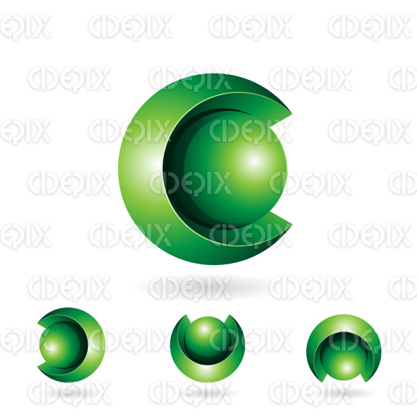 Green Abstract Spherical 3d Symbol of Letter C stock illustration