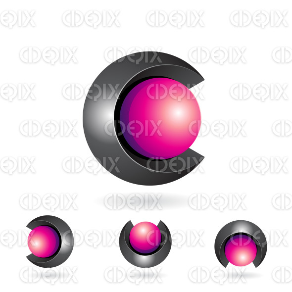 Black and Magenta Abstract Spherical 3d Symbol of Letter C stock illustration