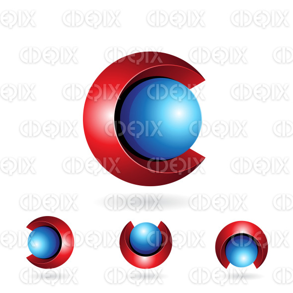 Red and Blue Abstract Spherical 3d Symbol of Letter C stock illustration