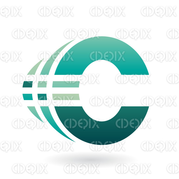 Persian Green Bold Abstract Symbol of Letter C with Stripes stock illustration