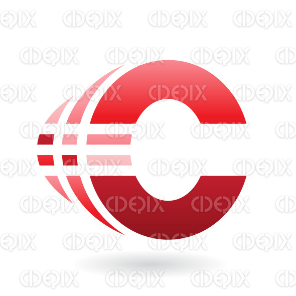 Red Abstract Bold Symbol of Letter C with Stripes stock illustration