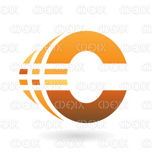Yellow and Brown Bold Abstract Symbol of Letter C with Stripes stock illustration