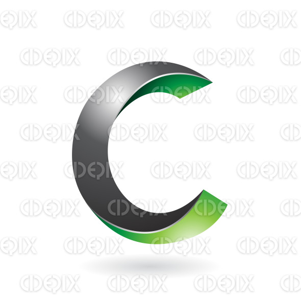 Black and Green Abstract Twisted Symbol of Letter C stock illustration