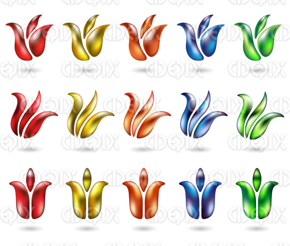 shiny and colorful abstract tulip icons stock illustration