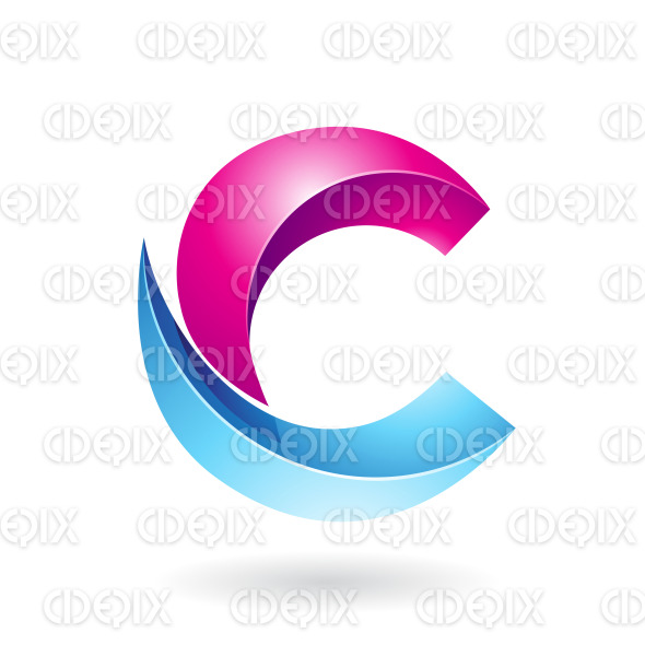Magenta and Blue Abstract Round Symbol of Melon Slice Shaped Letter C stock illustration