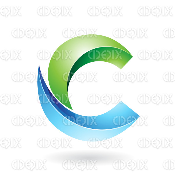 Green And Blue Abstract Round Symbol Of Melon Slice Shaped Letter C