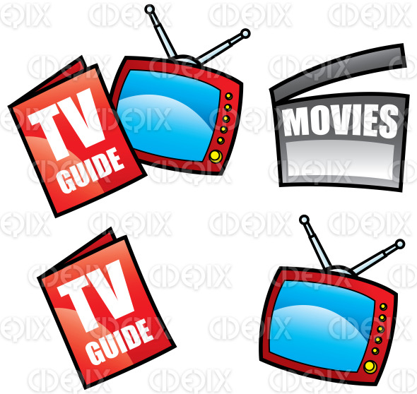 tv guide, television and movies clapper board stock illustration
