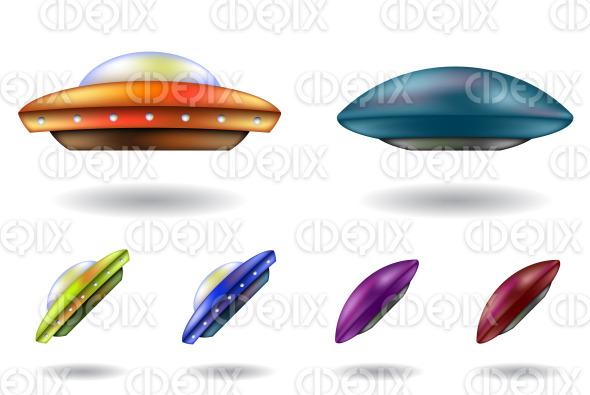 colorful 3d gradient mesh ufos and saucers stock illustration