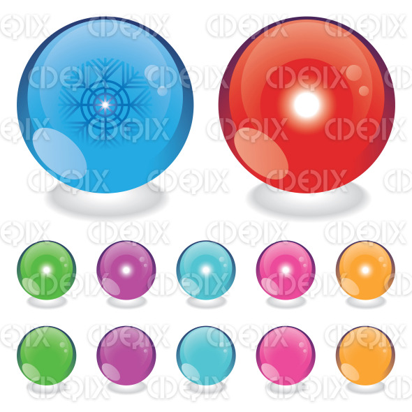 glass spheres, season balls with sun and snowflake stock illustration