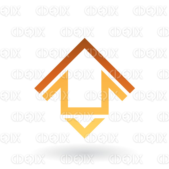 Yellow and Brown Abstract Square Shaped House Icon stock illustration