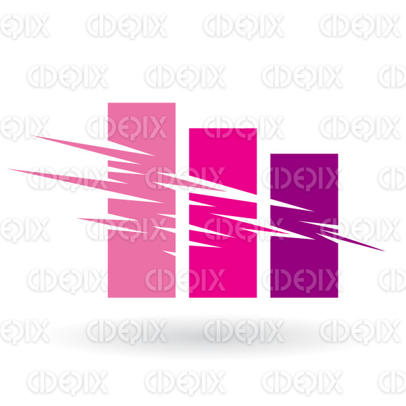 Falling Stats Abstract Icon Colored in Shades of Magenta stock illustration