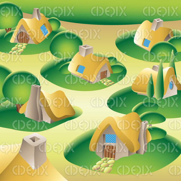 fairy tale fantasy village with country houses and trees stock illustration