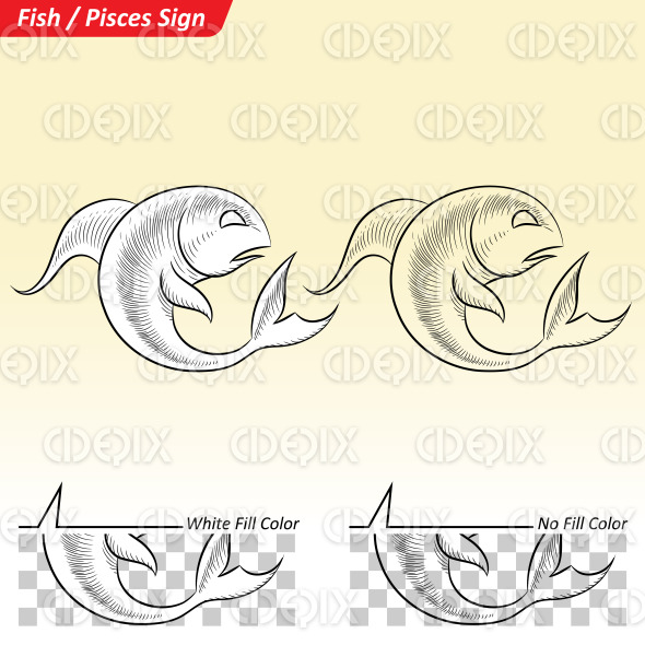 Pisces Zodiac Star Sign Sketch stock illustration