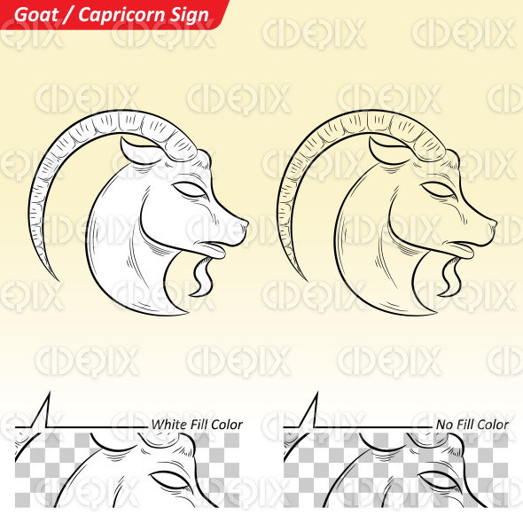 Capricorn Zodiac Star Sign Sketch stock illustration