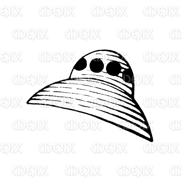 Vectorized Ink Sketch of an Alien Spaceship stock illustration