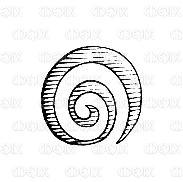 Vectorized Ink Sketch of a Spiral Galaxy Symbol stock illustration