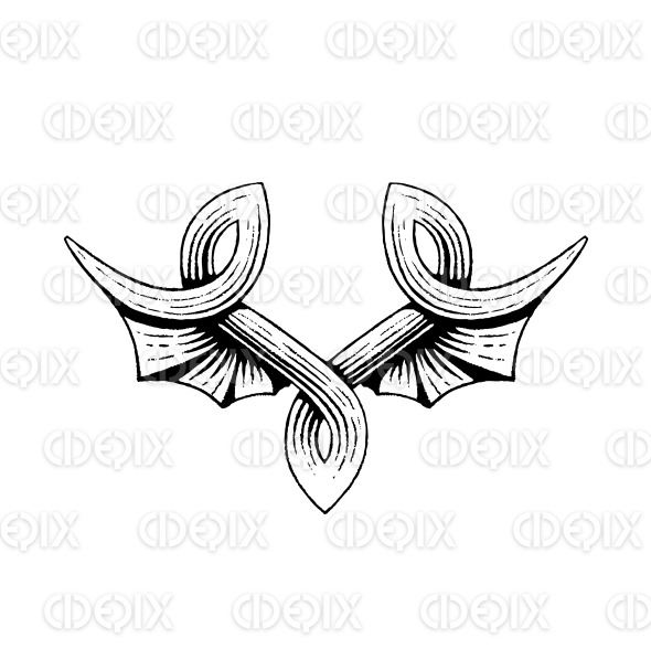 Vectorized Ink Sketch of Bat Wings stock illustration