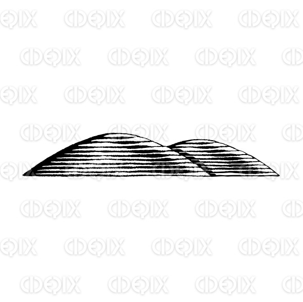 Vectorized Ink Sketch of Hills stock illustration