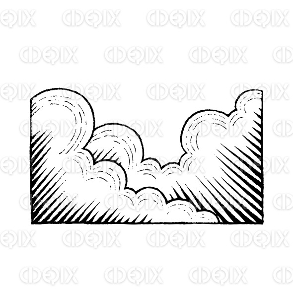 Vectorized Ink Sketch of Clouds stock illustration