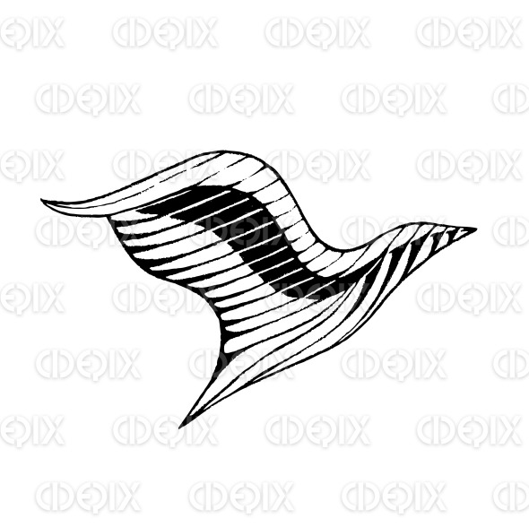 Vectorized Ink Sketch of a Bird stock illustration