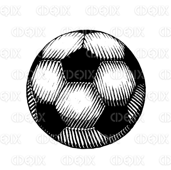 Vectorized Ink Sketch of a Soccer Ball stock illustration