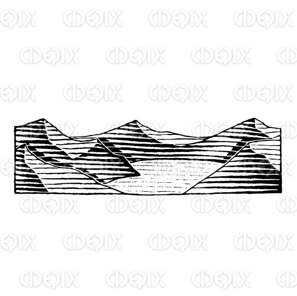 Vectorized Ink Sketch of a Mountain Lake stock illustration