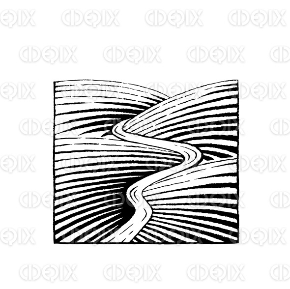 Vectorized Ink Sketch of Hills and River stock illustration