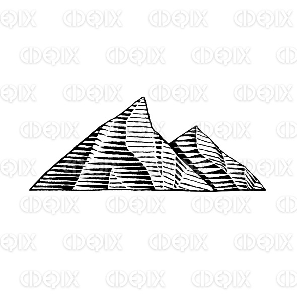 Vectorized Ink Sketch of Mountains stock illustration