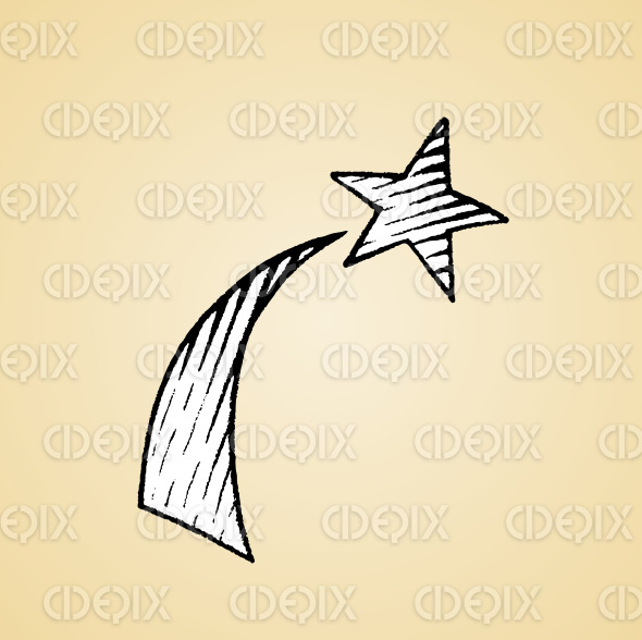Ink Sketch of a Shooting Star with White Fill stock illustration