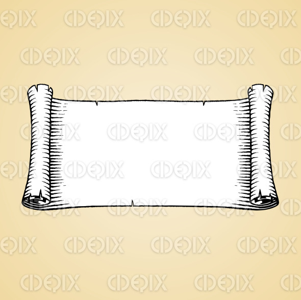 Ink Sketch of an Old Banner with White Fill stock illustration