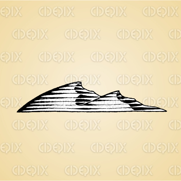 Ink Sketch of Sand Dunes with White Fill stock illustration
