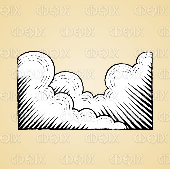 Ink Sketch of Clouds with White Fill stock illustration