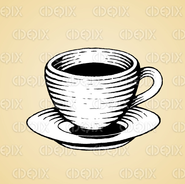 Ink Sketch of a Coffee Cup with White Fill stock illustration