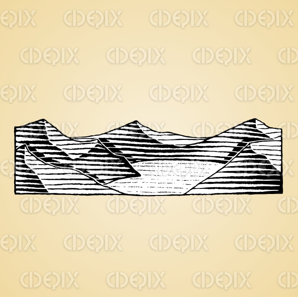 Ink Sketch of a Mountain Lake with White Fill stock illustration