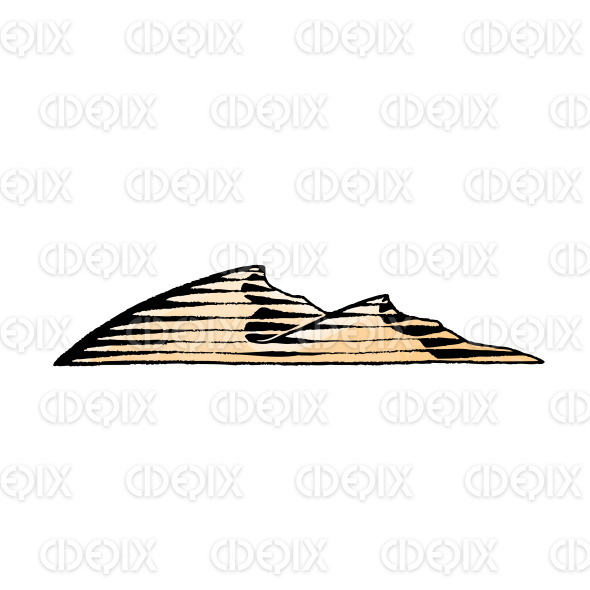 Ink and Watercolor Sketch of Sand Dunes stock illustration